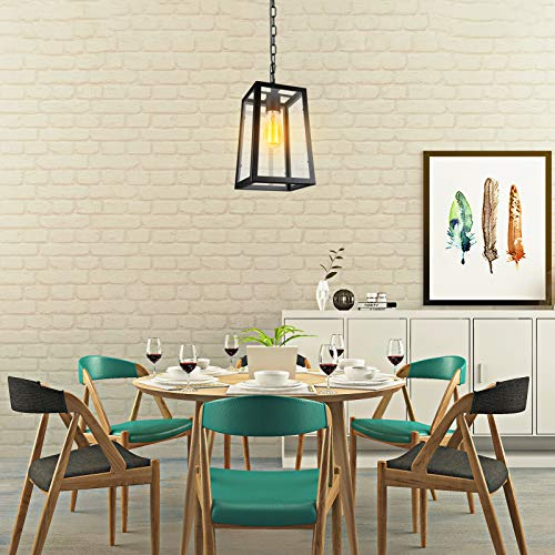 Paragon Home Modern Glass Pendant Light Metal Iron Frame Hanging Lights With Clear Glass Panels Matte Black Dining Room Lighting Fixture Chandelier E26 Base Bulb Not Included 0 2