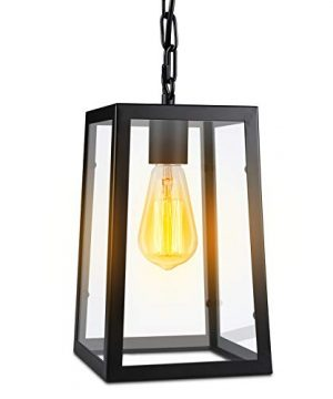 Paragon Home Modern Glass Pendant Light Metal Iron Frame Hanging Lights With Clear Glass Panels Matte Black Dining Room Lighting Fixture Chandelier E26 Base Bulb Not Included 0 3 300x360