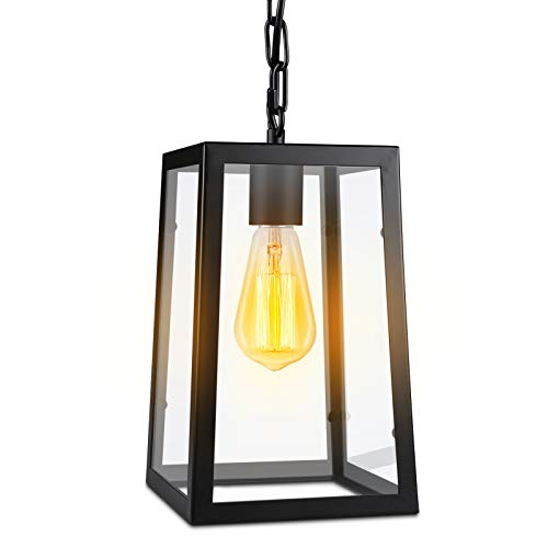 Paragon Home Modern Glass Pendant Light Metal Iron Frame Hanging Lights With Clear Glass Panels Matte Black Dining Room Lighting Fixture Chandelier E26 Base Bulb Not Included 0 3