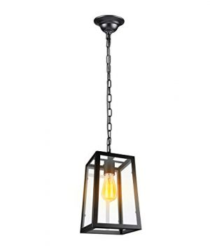 Paragon Home Modern Glass Pendant Light Metal Iron Frame Hanging Lights With Clear Glass Panels Matte Black Dining Room Lighting Fixture Chandelier E26 Base Bulb Not Included 0 300x360