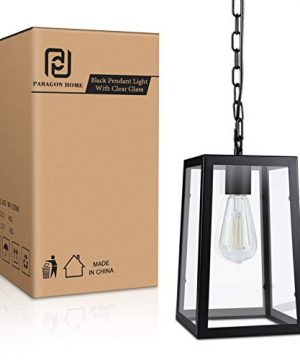 Paragon Home Modern Glass Pendant Light Metal Iron Frame Hanging Lights With Clear Glass Panels Matte Black Dining Room Lighting Fixture Chandelier E26 Base Bulb Not Included 0 5 300x360