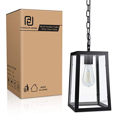 Paragon Home Modern Glass Pendant Light Metal Iron Frame Hanging Lights With Clear Glass Panels Matte Black Dining Room Lighting Fixture Chandelier E26 Base Bulb Not Included 0 5