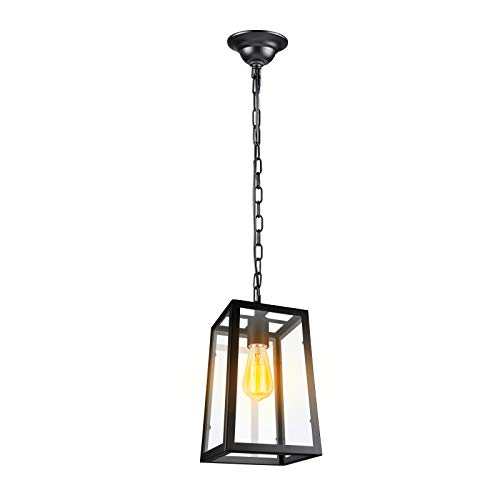 Paragon Home Modern Glass Pendant Light Metal Iron Frame Hanging Lights With Clear Glass Panels Matte Black Dining Room Lighting Fixture Chandelier E26 Base Bulb Not Included 0