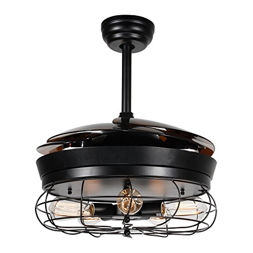 Parrot Uncle Ceiling Fan With Light 46 Inch Industrial Ceiling Fan Retractable Blades Vintage Cage Chandelier Fan With Remote Control 5 Edison Bulbs Needed Not Included Black 0 0