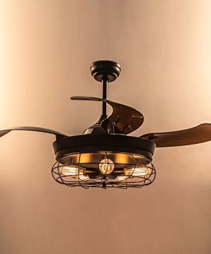 Parrot Uncle Ceiling Fan With Light 46 Inch Industrial Ceiling Fan Retractable Blades Vintage Cage Chandelier Fan With Remote Control 5 Edison Bulbs Needed Not Included Black 0 3 300x360