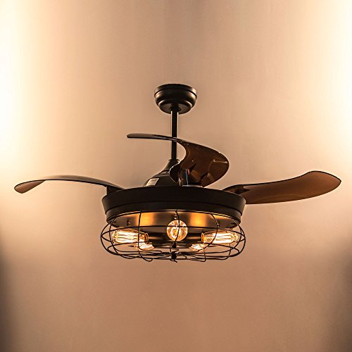 Parrot Uncle Ceiling Fan With Light 46 Inch Industrial Ceiling Fan Retractable Blades Vintage Cage Chandelier Fan With Remote Control 5 Edison Bulbs Needed Not Included Black 0 3
