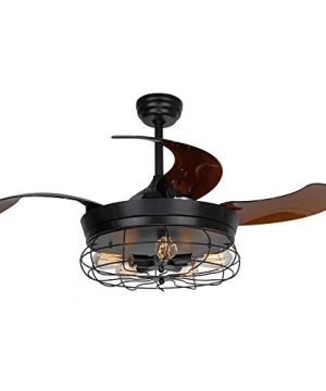 Parrot Uncle Ceiling Fan With Light 46 Inch Industrial Ceiling Fan Retractable Blades Vintage Cage Chandelier Fan With Remote Control 5 Edison Bulbs Needed Not Included Black 0 300x360