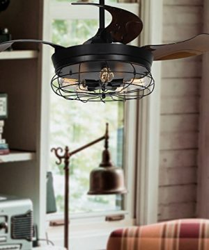Parrot Uncle Ceiling Fan With Light 46 Inch Industrial Ceiling Fan Retractable Blades Vintage Cage Chandelier Fan With Remote Control 5 Edison Bulbs Needed Not Included Black 0 5 300x360