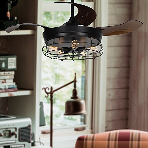 Parrot Uncle Ceiling Fan With Light 46 Inch Industrial Ceiling Fan Retractable Blades Vintage Cage Chandelier Fan With Remote Control 5 Edison Bulbs Needed Not Included Black 0 5