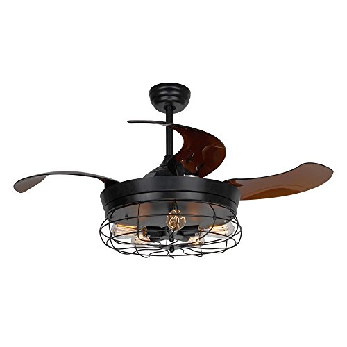 Parrot Uncle Ceiling Fan With Light 46 Inch Industrial Ceiling Fan Retractable Blades Vintage Cage Chandelier Fan With Remote Control 5 Edison Bulbs Needed Not Included Black 0