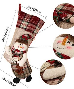 PartyTalk 18 Large 3D Classic Christmas Stockings Set Of 3 Plaid Christmas Stockings With Cute Santa Snowman And Reindeer For Christmas Hanging Decorations 0 0 300x360