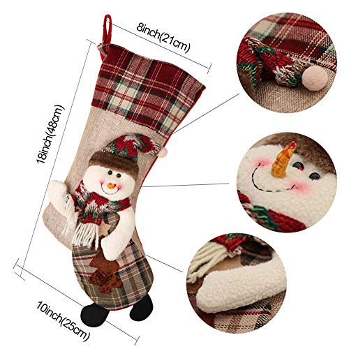 PartyTalk 18 Large 3D Classic Christmas Stockings Set Of 3 Plaid Christmas Stockings With Cute Santa Snowman And Reindeer For Christmas Hanging Decorations 0 0