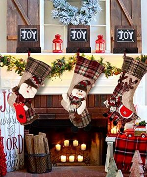 PartyTalk 18 Large 3D Classic Christmas Stockings Set Of 3 Plaid Christmas Stockings With Cute Santa Snowman And Reindeer For Christmas Hanging Decorations 0 1 300x360