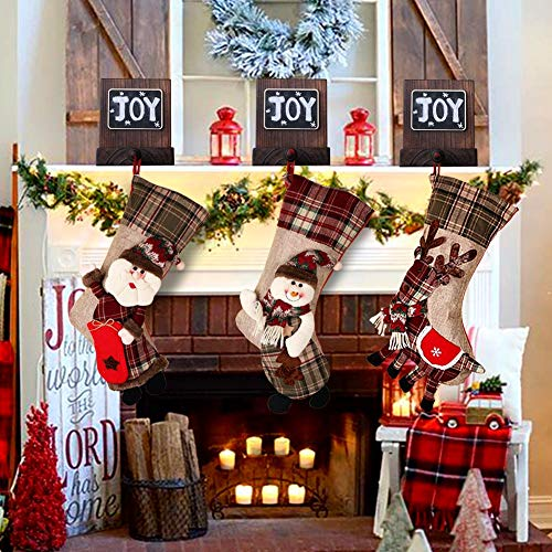 PartyTalk 18 Large 3D Classic Christmas Stockings Set Of 3 Plaid Christmas Stockings With Cute Santa Snowman And Reindeer For Christmas Hanging Decorations 0 1