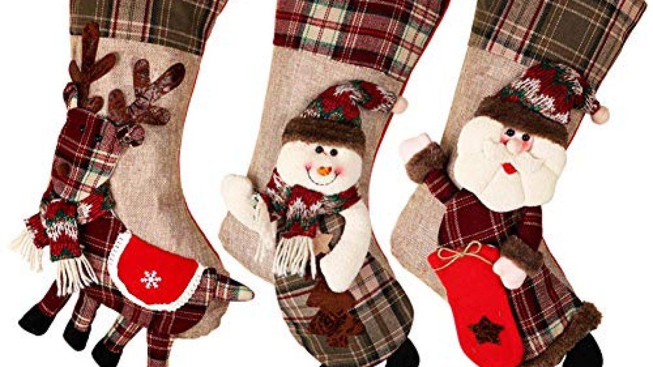 Ruffle Christmas Stocking Red White Christmas Stocking Patriotic Christmas Decoration 21 inches Santa Christmas Stocking