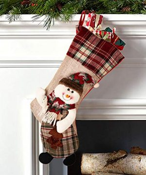 PartyTalk 18 Large 3D Classic Christmas Stockings Set Of 3 Plaid Christmas Stockings With Cute Santa Snowman And Reindeer For Christmas Hanging Decorations 0 2 300x360