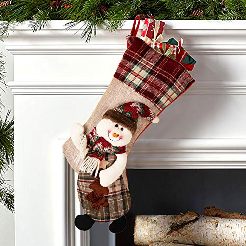 PartyTalk 18 Large 3D Classic Christmas Stockings Set Of 3 Plaid Christmas Stockings With Cute Santa Snowman And Reindeer For Christmas Hanging Decorations 0 2