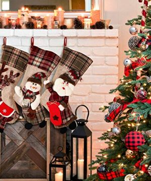 PartyTalk 18 Large 3D Classic Christmas Stockings Set Of 3 Plaid Christmas Stockings With Cute Santa Snowman And Reindeer For Christmas Hanging Decorations 0 3 300x360