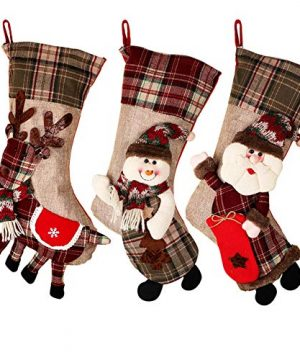 PartyTalk 18 Large 3D Classic Christmas Stockings Set Of 3 Plaid Christmas Stockings With Cute Santa Snowman And Reindeer For Christmas Hanging Decorations 0 300x360