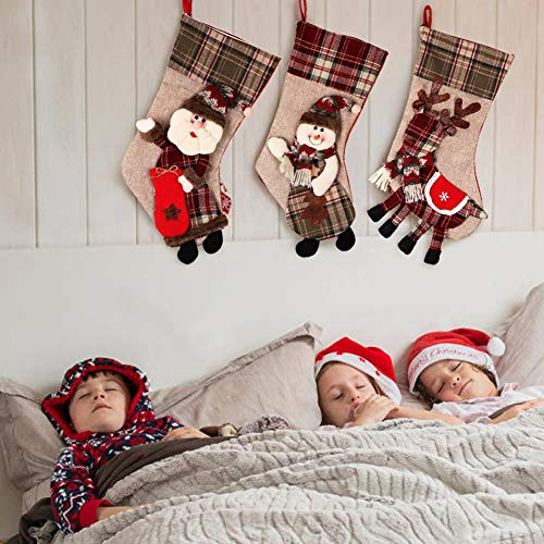 PartyTalk 18 Large 3D Classic Christmas Stockings Set Of 3 Plaid Christmas Stockings With Cute Santa Snowman And Reindeer For Christmas Hanging Decorations 0 4
