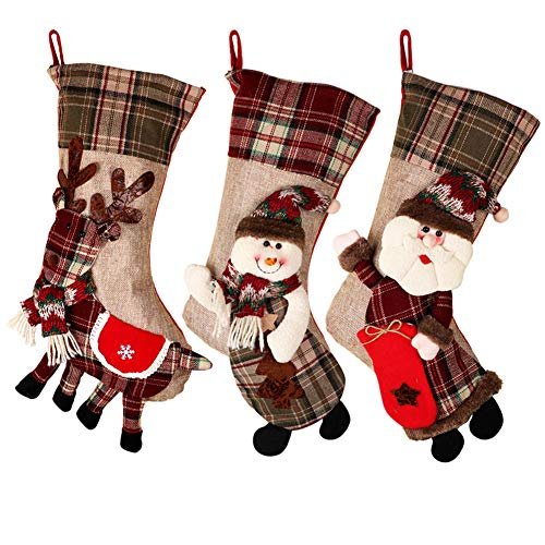 PartyTalk 18 Large 3D Classic Christmas Stockings Set Of 3 Plaid Christmas Stockings With Cute Santa Snowman And Reindeer For Christmas Hanging Decorations 0