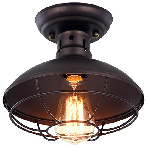 Pauwer Industrial Metal Cage Ceiling Light Semi Flush Mount Mini Pendant Lighting Oil Rubbed Bronze Chandelier For Farmhouse Goals