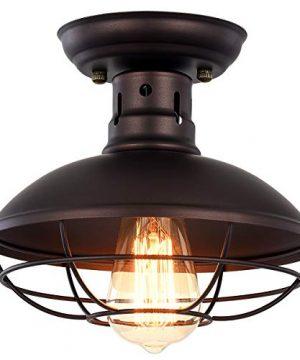 Pauwer Industrial Metal Cage Ceiling Light Semi Flush Mount Mini Pendant Lighting Oil Rubbed Bronze Chandelier For Farmhouse Porch Kitchen Bathroom 0 300x360