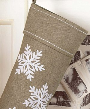 Piper Classics Winter Snowflake Christmas Stocking 12 X 20 Modern Country Farmhouse Holiday Dcor Beige Gray 0 0 300x360