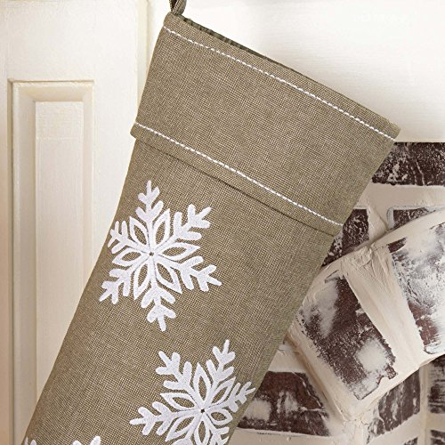Piper Classics Winter Snowflake Christmas Stocking 12 X 20 Modern Country Farmhouse Holiday Dcor Beige Gray 0 0