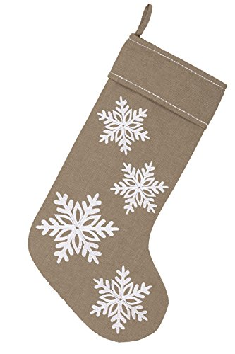 Piper Classics Winter Snowflake Christmas Stocking 12 X 20 Modern Country Farmhouse Holiday Dcor Beige Gray 0 1
