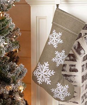 Piper Classics Winter Snowflake Christmas Stocking 12 X 20 Modern Country Farmhouse Holiday Dcor Beige Gray 0 300x360