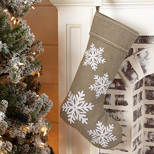 Piper Classics Winter Snowflake Christmas Stocking 12 X 20 Modern Country Farmhouse Holiday Dcor Beige Gray 0