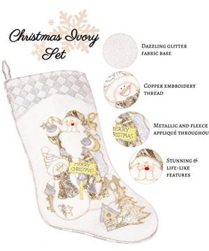 Prima Dcor Embroidered Farmhouse Christmas Stockings Decor Set Of 3 Family And Kids Holiday Stockings With Santa And Snowman Appliqu Designs Christmas Decorations Indoors 18 3 Pcs 0 1 300x360