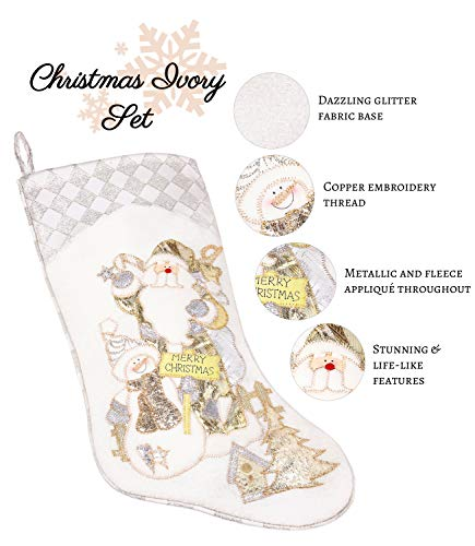 Prima Dcor Embroidered Farmhouse Christmas Stockings Decor Set Of 3 Family And Kids Holiday Stockings With Santa And Snowman Appliqu Designs Christmas Decorations Indoors 18 3 Pcs 0 1