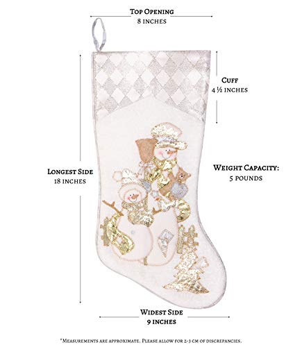 Prima Dcor Embroidered Farmhouse Christmas Stockings Decor Set Of 3 Family And Kids Holiday Stockings With Santa And Snowman Appliqu Designs Christmas Decorations Indoors 18 3 Pcs 0 2