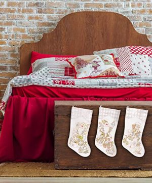 Prima Dcor Embroidered Farmhouse Christmas Stockings Decor Set Of 3 Family And Kids Holiday Stockings With Santa And Snowman Appliqu Designs Christmas Decorations Indoors 18 3 Pcs 0 3 300x360