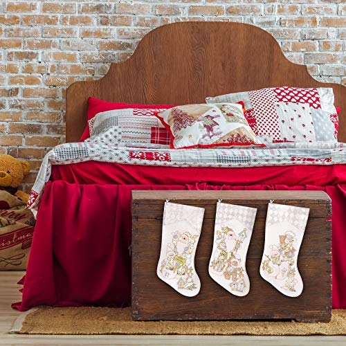 Prima Dcor Embroidered Farmhouse Christmas Stockings Decor Set Of 3 Family And Kids Holiday Stockings With Santa And Snowman Appliqu Designs Christmas Decorations Indoors 18 3 Pcs 0 3