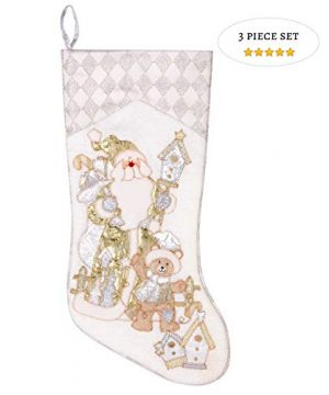 Prima Dcor Embroidered Farmhouse Christmas Stockings Decor Set Of 3 Family And Kids Holiday Stockings With Santa And Snowman Appliqu Designs Christmas Decorations Indoors 18 3 Pcs 0 300x360