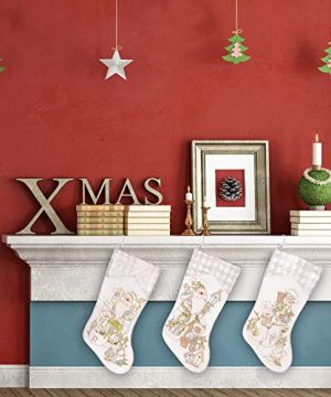 Prima Dcor Embroidered Farmhouse Christmas Stockings Decor Set Of 3 Family And Kids Holiday Stockings With Santa And Snowman Appliqu Designs Christmas Decorations Indoors 18 3 Pcs 0 5 300x360