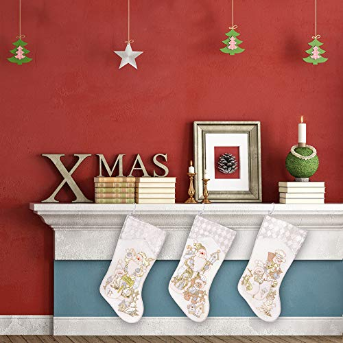 Prima Dcor Embroidered Farmhouse Christmas Stockings Decor Set Of 3 Family And Kids Holiday Stockings With Santa And Snowman Appliqu Designs Christmas Decorations Indoors 18 3 Pcs 0 5