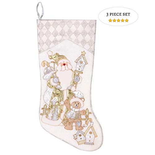Prima Dcor Embroidered Farmhouse Christmas Stockings Decor Set Of 3 Family And Kids Holiday Stockings With Santa And Snowman Appliqu Designs Christmas Decorations Indoors 18 3 Pcs 0