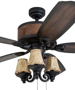 Prominence Home 41110 01 Almer Point 52 Lodge Ceiling Fan With 3 Light Faux Leather Lamp Shades Cabin Inspired Dark ElmChestnut Blades Rustic Style Matte Black 0 0 300x360