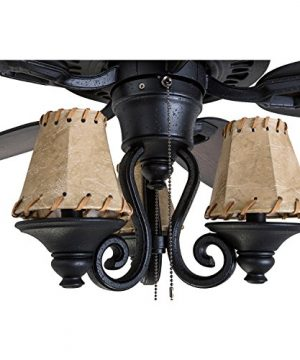 Prominence Home 41110 01 Almer Point 52 Lodge Ceiling Fan With 3 Light Faux Leather Lamp Shades Cabin Inspired Dark ElmChestnut Blades Rustic Style Matte Black 0 1 300x360