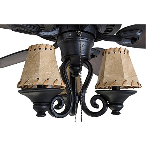 Prominence Home 41110 01 Almer Point 52 Lodge Ceiling Fan With 3 Light Faux Leather Lamp Shades Cabin Inspired Dark ElmChestnut Blades Rustic Style Matte Black 0 1