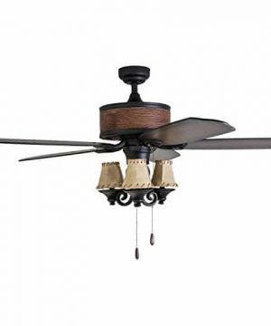 Prominence Home 41110 01 Almer Point 52 Lodge Ceiling Fan With 3 Light Faux Leather Lamp Shades Cabin Inspired Dark ElmChestnut Blades Rustic Style Matte Black 0 2 300x360