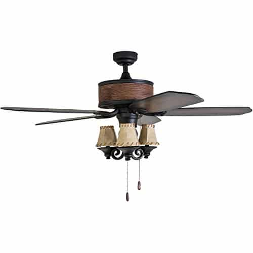 Prominence Home 41110 01 Almer Point 52 Lodge Ceiling Fan With 3 Light Faux Leather Lamp Shades Cabin Inspired Dark ElmChestnut Blades Rustic Style Matte Black 0 2