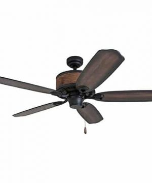 Prominence Home 41110 01 Almer Point 52 Lodge Ceiling Fan With 3 Light Faux Leather Lamp Shades Cabin Inspired Dark ElmChestnut Blades Rustic Style Matte Black 0 3 300x360