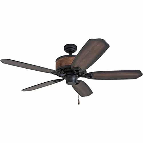 Prominence Home 41110 01 Almer Point 52 Lodge Ceiling Fan With 3 Light Faux Leather Lamp Shades Cabin Inspired Dark ElmChestnut Blades Rustic Style Matte Black 0 3