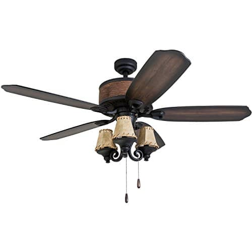 Prominence Home 41110 01 Almer Point 52 Lodge Ceiling Fan With 3 Light Faux Leather Lamp Shades Cabin Inspired Dark ElmChestnut Blades Rustic Style Matte Black 0