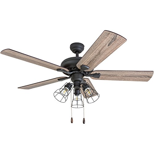 Prominence Home 50745 01 Lincoln Woods Farmhouse Ceiling Fan 3 Speed Remote 52 BarnwoodTumbleweed Aged Bronze 0